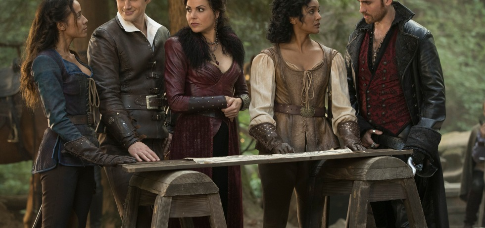 Ella (Dania Ramirez), Henry (Andrew J. West), Regina (Lana Parrilla), Tiana (Mekia Cox) and Hook (Colin O'Donoghue)